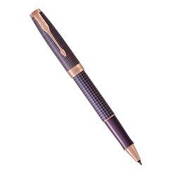 Ручка роллер Parker Sonnet Chiselled Silver Purple Matrix PGT