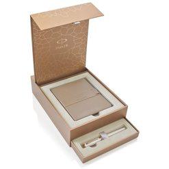 Подарочный набор 5й пишущий узел Parker Ingenuity Slim F501 Pearl Lacquer PGT с записной книжкой