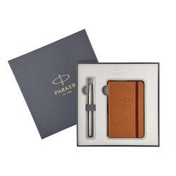 Подарочный набор перьевая ручка Parker Sonnet Stainless Steel CT с записной книжкой