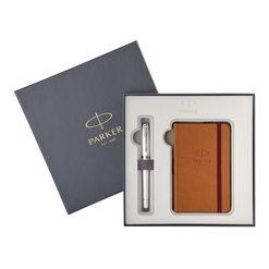 Подарочный набор перьевая ручка Parker Urban Premium Pearl Metal CT с записной книжкой