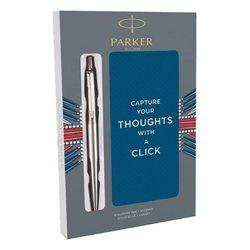 Подарочный набор шариковая ручка Parker Jotter Core Stainless Steel CT с записной книжкой