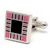 Запонки Mr. Cuff квадрат с решеткой розовая эмаль