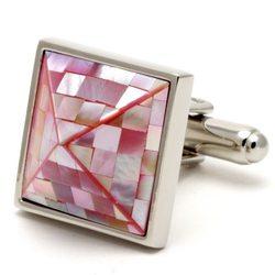 Запонки Mr. Cuff пирамида розовый перламутр