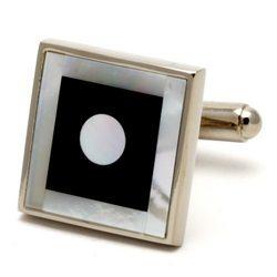 Запонки Mr. Cuff круг в квадрате оникс