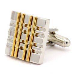Запонки Mr. Cuff золотые полоски и серебряные бороздки