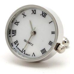 Запонки Metal Fun часы круглые перламутр
