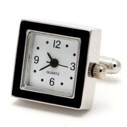 Запонки Metal Fun часы квадратные черная эмаль