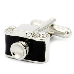 Запонки Metal Fun фотоаппарат черная эмаль